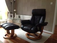 Swivel Recliner Chair and Footstool - Saddle Brown - Mint Condition - 6 months old