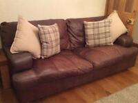 Leather 3 seater sofa, arm chair and footstool