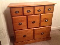Solid cupboard with 9 drawers living room furniture