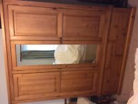 Solid wood triple wardrobe with drawers