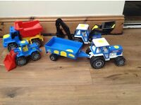 Large ford digger and tractor toys