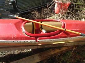 Red&a White canou with paddle good condition about 12ft long