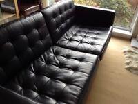 IKEA KARLSTADT black leather sofa