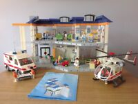 Playmobil Hospital + Ambulance+ Rescue Helicopter
