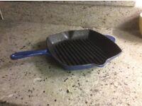 Blue cast iron skillet