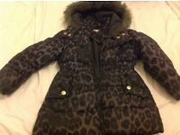 Girl debenhams blue zoo fur hooded animal print padded winter coat