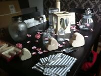 Handmade wedding table centre pieces and sweetie table jars.