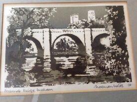 NORMAN WADE PRINT OF PREBENDS BRIDGE DURHAM