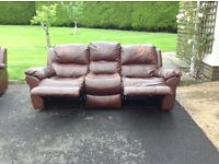 3 piece recliner full leather suite