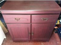 Mahogany Effect Sideboard. Two drawers and 2 shelves