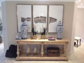 Long console/ hall table in light pine