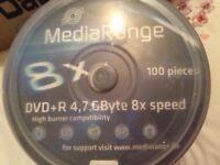 100 x Blank MediaRange DVD+R, 4.7 GByte, 8 speed