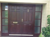 Hardwood external French double doors and furniture