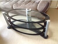Modern Glass 3 Tiered TV Stand with Cable Tidy