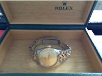 GENUINE BI METAL LADYS ROLEX OYSTER PERPETUAL WATCH VINTAGE 75 REF 6751/3 STEEL/GOLD CHAMPAGNE DIAL