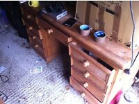 pine writing desk 9 drawers garage clear out