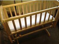 Johns Lewis baby swinging crib (New) with matress