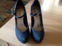 Ideal prom/nightwear 6inch heels in black material - worn once - size 7