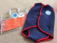 Baby Splash About Neoprene Wetsuit in navy and red. Size Large 12-36months.