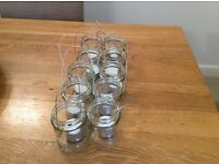 10 Hanging glass jar candle tea light lanterns -wedding