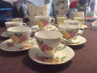 Sheridan bone china tea service white with a yellow and pink rose design