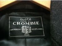 Mens Authentic Crombie Black Overcoat in vgc size 42-44 inch chest