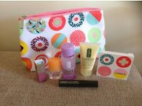 CLINIQUE COSMETIC BAG AND CONTENTS