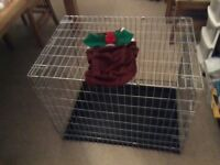 Metal dog crate with easy to clean plastic tray.