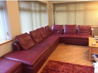 Leather corner modular suite, good condition