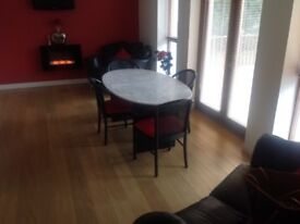 2str settee and matching armchair also marble dinning table and 6 chairs.