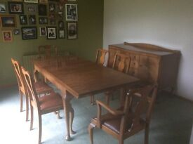 Dining room table and chair set with side board