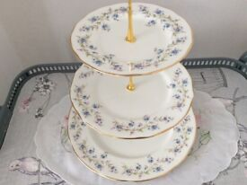 Large Duchess Tranquility Bone China 3 Tier Cake Stand. Blue Floral.