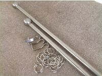 Satin chrome curtain pole and rings, fittings incl , 2.4m