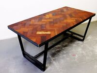 Brix Design Works - Chadwick Dining Table - Industrial Steel and Reclaimed Mahogany