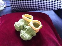 Hand knitted baby sandals 100% cotton,size 9cm