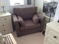 Brown linen Snuggle / Cuddle chair almost brand new