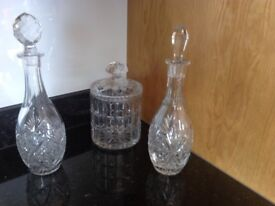 Crystal ice bucket and 2 crystal decanters set