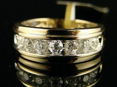 14k Mens Diamond Rings - 14K Mens Channel Round Diamond Wedding Band Ring 1.0 Ct