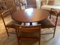 Retro vintage Macintosh teak dining chairs (4) with round table