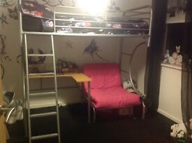Benson,s beds high sleeper bed with futon, £160 o.n.o, must pick -up, pics attached, contact Marcus.