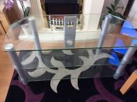 Large glass tv unit plus small lamp table