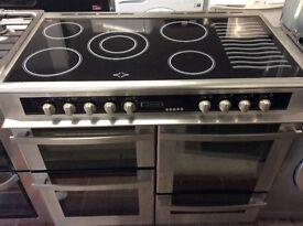 Leisure ceramic range cooker 100 cm wide stainless steel