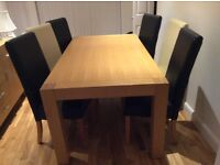 Wood dining table and 6 chairs. Good condition. Chairs recently recovered