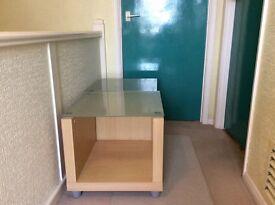 Glass Top Bed Side Locker Set