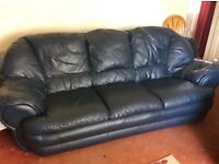 3 SEATER AND 2 SEATER BLUE LEATHER SOFAS WITH FOOT REST