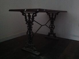 Pub table with iron legs
