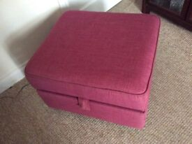Cerise pink armchair and matching storage stool excellent condition as new