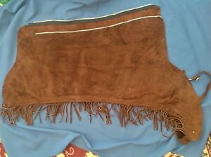 Women's  dark brown suede show chaps, long fringe MINT, small