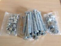 Coach bolts, M14 x 120 mm plus locking nuts & wahers