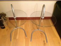Two Glass Bedside Tables